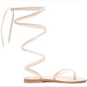 Cornetti Cream Italian Suede Thong & Straps Sandal